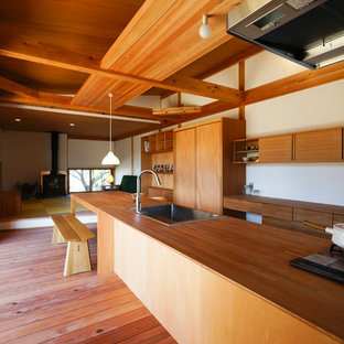 Photo of an asian galley open plan kitchen in Other with a drop-in sink, flat-panel cabinets, stainless steel appliances, medium hardwood floors, with island, wood benchtops and timber splashback.
