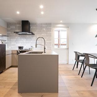 モダンスタイルのおしゃれなキッチン (アンダーカウンターシンク、インセット扉のキャビネット、グレーのキャビネット、グレーのキッチンパネル、シルバーの調理設備の、淡色無垢フローリング、アイランドなし、ベージュの床) の写真