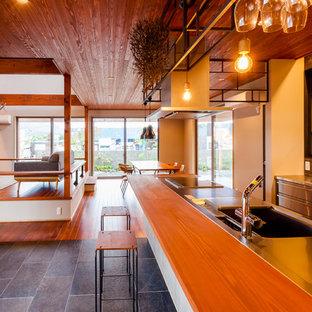 他の地域のインダストリアルスタイルのおしゃれなII型キッチン (アンダーカウンターシンク、ステンレスカウンター、シルバーの調理設備の) の写真