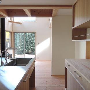 Offene, Zweizeilige Asiatische Küche mit integriertem Waschbecken, flächenbündigen Schrankfronten, hellen Holzschränken, Edelstahl-Arbeitsplatte und hellem Holzboden in Sonstige