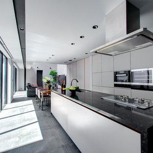 東京23区のII型モダンスタイルのLDKの画像 (シングルシンク、フラットパネル扉のキャビネット、グレーのキャビネット、コンクリートの床、アイランド1つ、グレーの床)