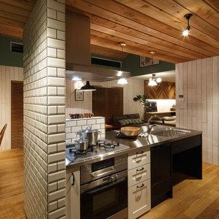 他の地域, の北欧スタイルのおしゃれなアイランドキッチン (シングルシンク、落し込みパネル扉のキャビネット、白いキャビネット、ステンレスカウンター、無垢フローリング、茶色い床) の写真