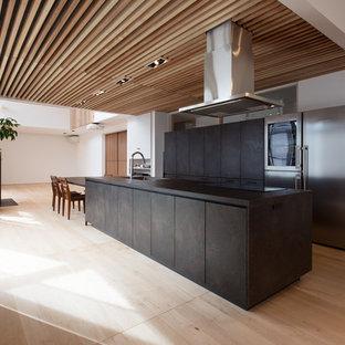 モダンスタイルのおしゃれなキッチン (アンダーカウンターシンク、インセット扉のキャビネット、ヴィンテージ仕上げキャビネット、シルバーの調理設備、淡色無垢フローリング、ベージュの床) の写真