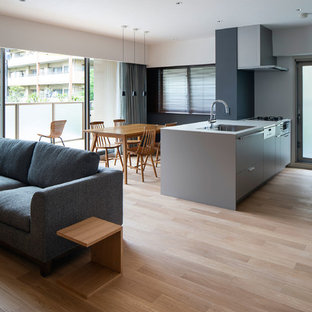 Photo of a small contemporary galley open plan kitchen in Osaka with a built-in sink, grey cabinets, plywood flooring, an island and beige floors.