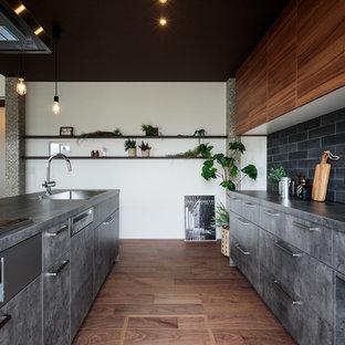 東京23区のミッドセンチュリースタイルのおしゃれなキッチン (アンダーカウンターシンク、インセット扉のキャビネット、グレーのキャビネット、ガラス板のキッチンパネル、シルバーの調理設備、濃色無垢フローリング、茶色い床、グレーのキッチンカウンター) の写真