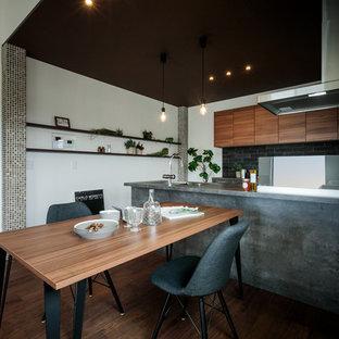 東京23区のインダストリアルスタイルのおしゃれなキッチン (アンダーカウンターシンク、インセット扉のキャビネット、グレーのキャビネット、ガラス板のキッチンパネル、シルバーの調理設備、濃色無垢フローリング、茶色い床、グレーのキッチンカウンター) の写真