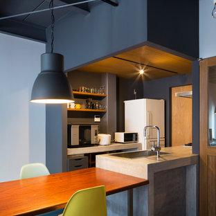 Ispirazione per una piccola cucina industriale con ante grigie, top in cemento, elettrodomestici in acciaio inossidabile, penisola, lavello sottopiano, paraspruzzi a effetto metallico, pavimento in cemento, pavimento grigio e top grigio