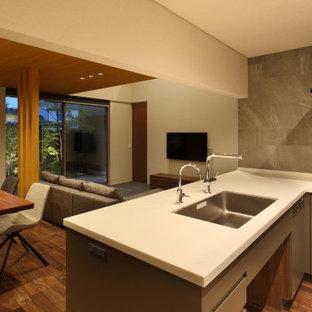 他の地域の中くらいのモダンスタイルのおしゃれなキッチン (アンダーカウンターシンク、インセット扉のキャビネット、グレーのキャビネット、人工大理石カウンター、グレーのキッチンパネル、セラミックタイルのキッチンパネル、黒い調理設備、濃色無垢フローリング、茶色い床、白いキッチンカウンター、クロスの天井) の写真