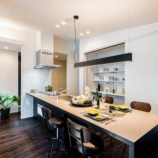 他の地域のモダンスタイルのおしゃれなキッチン (シングルシンク、塗装フローリング、茶色い床) の写真