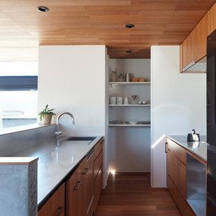Zweizeilige Asiatische Küche mit integriertem Waschbecken, flächenbündigen Schrankfronten, hellbraunen Holzschränken, Edelstahl-Arbeitsplatte, schwarzen Elektrogeräten, braunem Holzboden, Halbinsel und braunem Boden in Sonstige