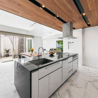 コンテンポラリースタイルのおしゃれなキッチン (アンダーカウンターシンク、フラットパネル扉のキャビネット、白いキャビネット、白いキッチンパネル、白い調理設備、白い床、黒いキッチンカウンター、大理石の床) の写真