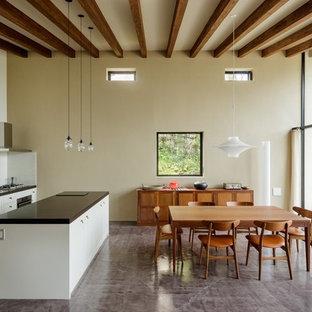 他の地域のトランジショナルスタイルのおしゃれなキッチン (白いキャビネット、ドロップインシンク、フラットパネル扉のキャビネット、白いキッチンパネル、グレーの床) の写真