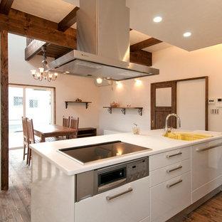 他の地域のトラディショナルスタイルのおしゃれなキッチン (一体型シンク、フラットパネル扉のキャビネット、白いキャビネット、無垢フローリング、茶色い床) の写真