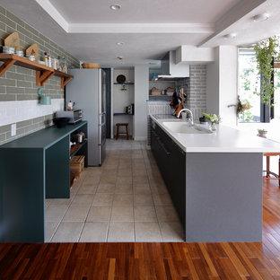 他の地域のエクレクティックスタイルのおしゃれなキッチンの写真