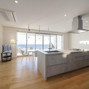 他の地域のモダンスタイルのおしゃれなキッチン (シングルシンク、フラットパネル扉のキャビネット、グレーのキャビネット、コンクリートカウンター、無垢フローリング、茶色い床) の写真