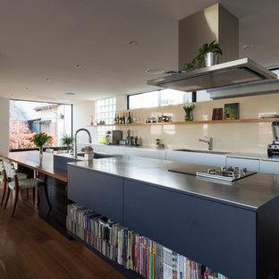 他の地域の大きいモダンスタイルのおしゃれなキッチンの写真
