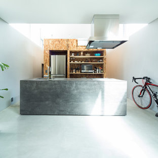 Industrial single-wall open plan kitchen in Tokyo with an undermount sink, beaded inset cabinets, grey cabinets, stainless steel appliances, concrete floors, with island, grey floor and grey benchtop.