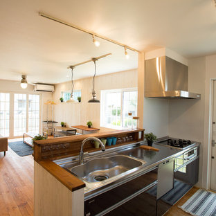 他の地域のカントリー風おしゃれなキッチン (一体型シンク、フラットパネル扉のキャビネット、茶色いキャビネット、ステンレスカウンター、白いキッチンパネル、無垢フローリング、茶色い床、茶色いキッチンカウンター) の写真