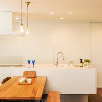 「白×木×緑」で彩ったシンプルな家