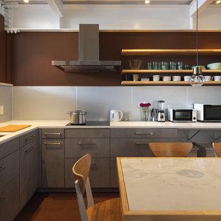 Cette image montre une cuisine américaine asiatique en L avec un évier encastré, un placard à porte plane, des portes de placard grises, une crédence grise, un électroménager encastrable, aucun îlot et un sol marron.
