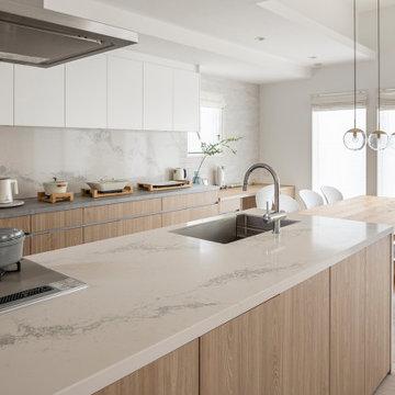 納入事例:ナチュラルな木目の扉にシーザーストーンのマーブル模様のアクセントを効かせたキッチン空間