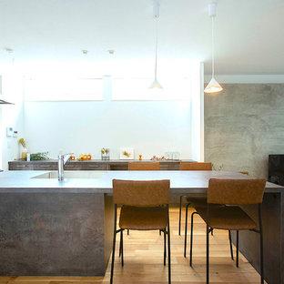 東京23区のモダンスタイルのおしゃれなキッチン (アンダーカウンターシンク、インセット扉のキャビネット、グレーのキャビネット、シルバーの調理設備の、無垢フローリング、茶色い床、グレーのキッチンカウンター) の写真