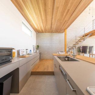 東京23区のコンテンポラリースタイルのおしゃれなキッチン (アンダーカウンターシンク、インセット扉のキャビネット、グレーのキャビネット、白いキッチンパネル、シルバーの調理設備、無垢フローリング、茶色い床、グレーのキッチンカウンター、板張り天井) の写真