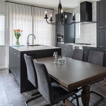 納入実例:ダークグレーの框扉をベースにコーディネートした機能的なキッチン空間