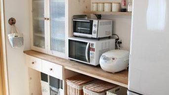 総無垢 キッチン背面収納オーダー制作