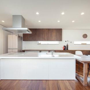 他の地域のミッドセンチュリースタイルのおしゃれなキッチン (茶色い床、一体型シンク、無垢フローリング、白いキッチンカウンター) の写真