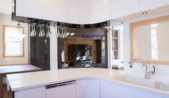 美しいカーブのキッチン