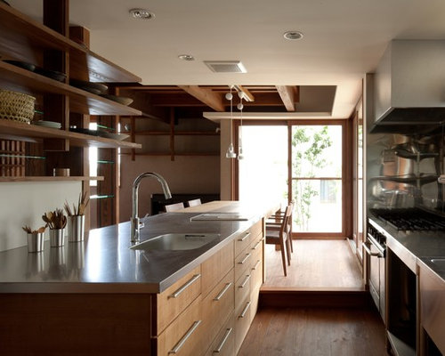 Asian Kitchen Pictures   Medium Tone Wood Floor And Brown Floor Kitchen  Photo In Other With