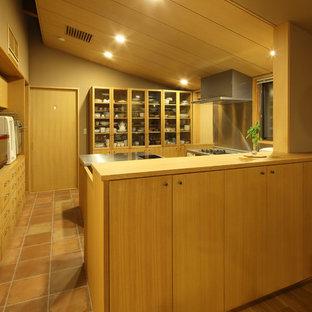 京都のアジアンスタイルのおしゃれなキッチン (フラットパネル扉のキャビネット、淡色木目調キャビネット、ステンレスカウンター、メタリックのキッチンパネル、シルバーの調理設備の、テラコッタタイルの床) の写真