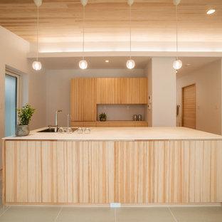 他の地域のアジアンスタイルのおしゃれなキッチン (シングルシンク、フラットパネル扉のキャビネット、中間色木目調キャビネット、グレーの床) の写真