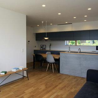 モダンスタイルのおしゃれなキッチン (インセット扉のキャビネット、グレーのキャビネット、木材カウンター) の写真