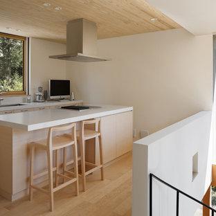 他の地域, の北欧スタイルのおしゃれなキッチン (シングルシンク、フラットパネル扉のキャビネット、淡色木目調キャビネット、淡色無垢フローリング、茶色い床) の写真