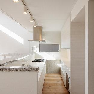 東京23区の中サイズのモダンスタイルのおしゃれなキッチン (一体型シンク、フラットパネル扉のキャビネット、白いキャビネット、御影石カウンター、赤いキッチンパネル、ガラス板のキッチンパネル、パネルと同色の調理設備、無垢フローリング、グレーのキッチンカウンター、マルチカラーの床) の写真