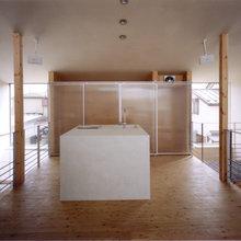 人造石研ぎ出しによるキッチン、洗面、バスルーム