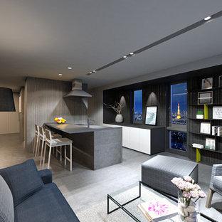 東京23区の小さいコンテンポラリースタイルのおしゃれなキッチン (フラットパネル扉のキャビネット、白いキャビネット、ステンレスカウンター、白いキッチンパネル、シルバーの調理設備、コンクリートの床、グレーの床、黒いキッチンカウンター) の写真