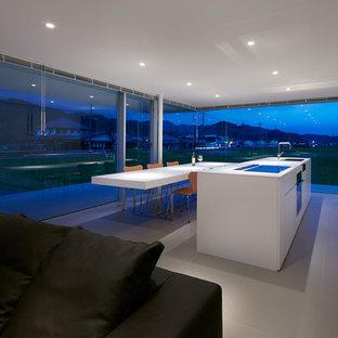 Ejemplo de cocina lineal, minimalista, abierta, con armarios con paneles lisos, puertas de armario blancas, suelo de azulejos de cemento, una isla y suelo gris