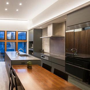 他の地域のモダンスタイルのおしゃれなキッチン (シングルシンク、フラットパネル扉のキャビネット、グレーのキャビネット、塗装フローリング、ベージュの床、グレーのキッチンカウンター) の写真