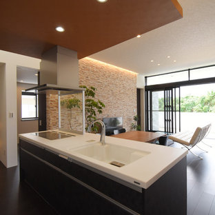 This is an example of a modern single-wall open plan kitchen in Other with black cabinets, plywood flooring and black floors.