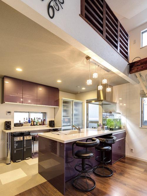 Küchen mit lila Schränken Ideen, Design & Bilder | Houzz