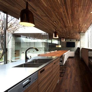 Diseño de cocina de galera, minimalista, abierta, con fregadero de doble seno, armarios con paneles lisos, puertas de armario de madera oscura, encimera de acero inoxidable, electrodomésticos de acero inoxidable y suelo de madera oscura