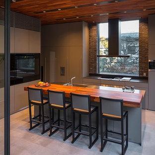 東京23区のおしゃれなキッチン (アンダーカウンターシンク、フラットパネル扉のキャビネット、グレーのキャビネット、ステンレスカウンター、黒い調理設備) の写真