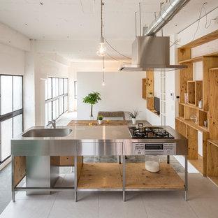 東京23区のインダストリアルスタイルのおしゃれなキッチン (一体型シンク、インセット扉のキャビネット、ステンレスキャビネット、ステンレスカウンター、グレーの床) の写真