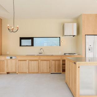 他の地域の大きいアジアンスタイルのおしゃれなキッチン (落し込みパネル扉のキャビネット、淡色木目調キャビネット、ステンレスカウンター、白い調理設備、コンクリートの床) の写真