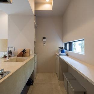 他の地域のコンテンポラリースタイルのおしゃれなキッチン (一体型シンク、グレーのキャビネット、コンクリートカウンター、コンクリートの床、グレーの床) の写真