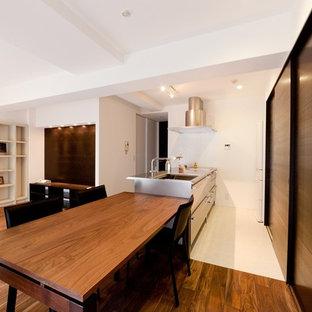他の地域のモダンスタイルのおしゃれなキッチン (シングルシンク、フラットパネル扉のキャビネット、ステンレスキャビネット、ステンレスカウンター、白い床) の写真