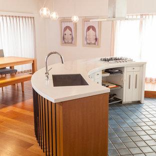 東京23区のコンテンポラリースタイルのおしゃれなキッチン (シングルシンク、フラットパネル扉のキャビネット、白いキャビネット、青い床) の写真